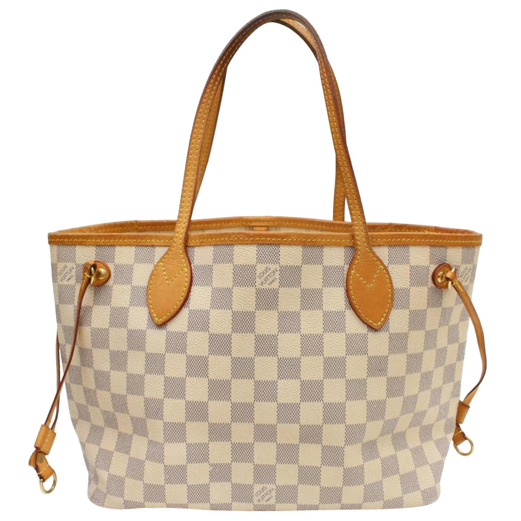 e373a0fc32f Louis Vuitton Neverfull Damier Azur Pm 869539 White Coated Canvas Tote at  1stdibs