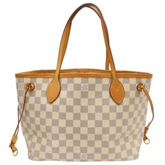 Louis Vuitton Neverfull Damier Azur Pm 869106 White Coated Canvas Tote