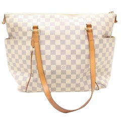 Louis Vuitton Totally Damier Azur Mm Zip 868458 White Coated Canvas Tote