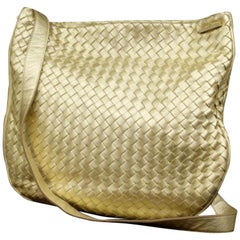 Bottega Veneta Metallic Messenger 227211 Gold Woven Leather Cross Body Bag