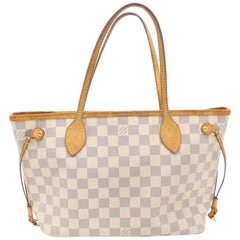 Louis Vuitton Neverfull Damier Azur Pm 869539 White Coated Canvas Tote