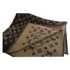 Louis Vuitton Brown Neo Grace Coddington Monogram Catogram Wool Blanket 868513 S