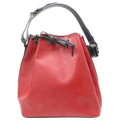 Louis Vuitton Bucket Bicolor Epi Black Petit Noe Drawstring Hobo 869538 Red Leat