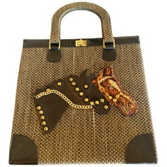 Rare Large Jolles of Paris 1950s Horse Equestrian bag Handbag