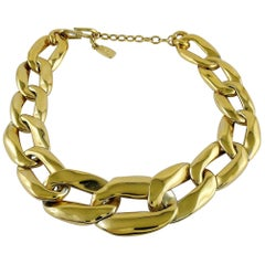Yves Saint Laurent YSL Vintage Athos Iconic Gold Toned Curb Chain Necklace