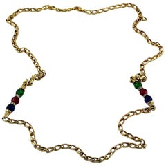 Christian Dior Vintage Jewelled Gold Tone Chain Sautoir Necklace