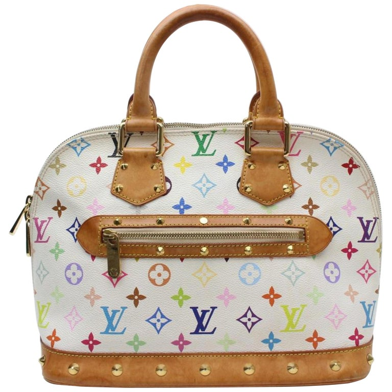 622ef07c78d Louis Vuitton Alma Monogram Multicolor Blanc Pm 869513 White Coated Canvas  Satch
