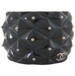 Chanel Black 04a Studded Point Cuff Bangle 869438 Bracelet