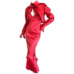Karl Lagerfeld 1980's Red Evening Dress with Matching Jacket Lagerfeld Gallery