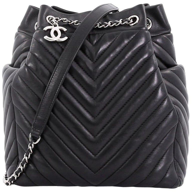 b9bfddddce75 Chanel Urban Spirit Drawstring Bag Chevron Calfskin Small at 1stdibs