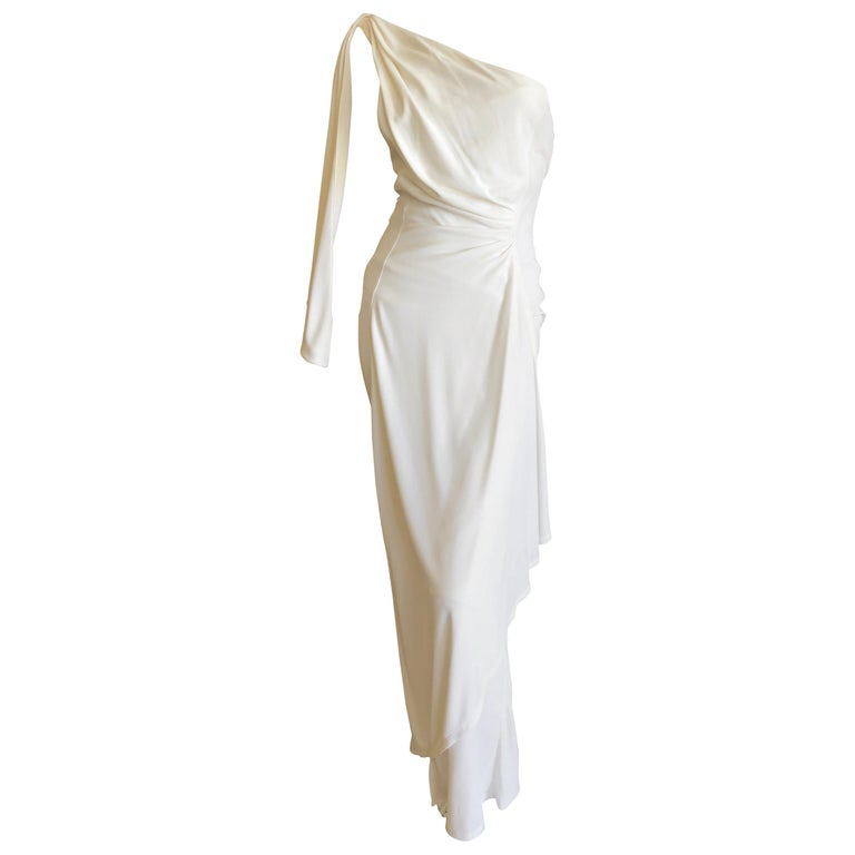 Thierry Mugler Paris Vintage Eighties Ivory White One Shoulder Goddess Dress