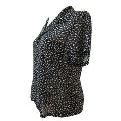 Comme des Garcons Black White Floral Short Sleeve Blouse AD 2001