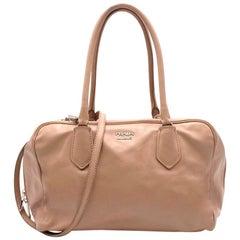 Prada beige leather bowling bag