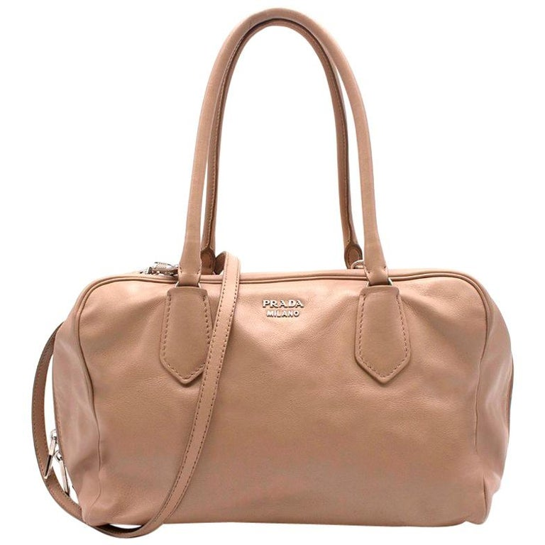 70636840cf35 Prada beige leather bowling bag For Sale at 1stdibs