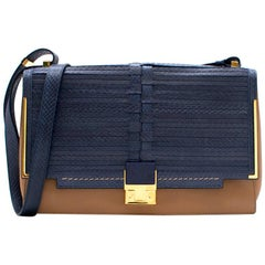 Lanvin Blue and Beige Leather Bag