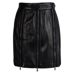 Moschino Black Zip Detail Leather Skirt S
