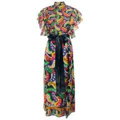 Joan Leslie for Kasper Paisley Silk Organza 30s Inspired Maxi Dress 1970s