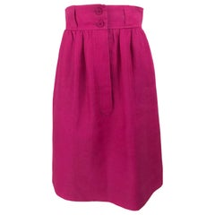 Givenchy Hot Pink Linen Skirt 1980s