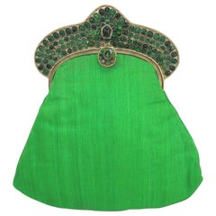 Green 1960's Mughal Style Bejeweled Indian Clutch Handbag