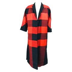 1950s Silk Shantung Reversible Coat Black and Orange Buffalo Plaid