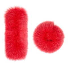 Verheyen London Pair of Snap on Fox Fur Cuffs in Coral Pink (Small size)