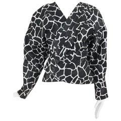Jean Claude Jitrois Black and White Animal Print Leather Jacket 1980s