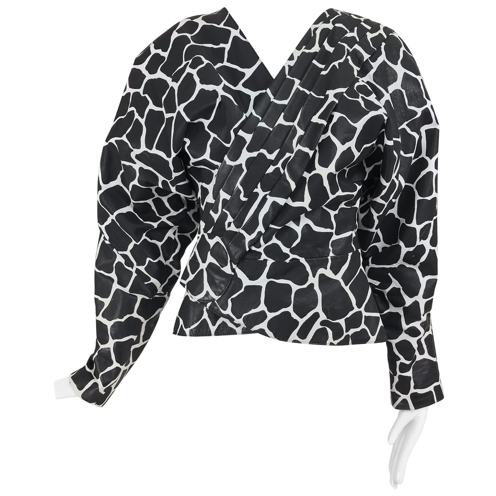 Jean Claude Jitrois Black and White Animal Print Leather Jacket 1980s