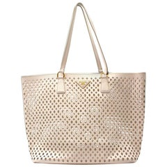 Prada White Laser Cut-out Shoulder Tote