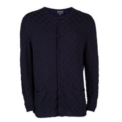 Giorgio Armani Navy Blue Basketweave Cotton Knit Cardigan XXL