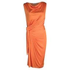 Dior Orange Knit Draped Sleeveless Cowl Neck Dress M