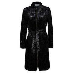 Yves Saint Laurent Shiny Black Quilted Velvet Belted Long Coat M