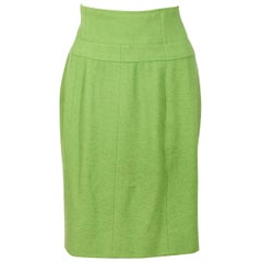 Lime Green Chanel Wool Skirt