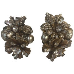 Estate Miriam Haskell Faux Pearl and Crystal Antique Clip On Earrings