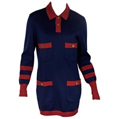 Blue & Red Chanel Knit Sweater Dress