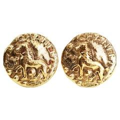 Chanel Lion Clip On Earrings