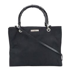 Gucci Black Canvas Bamboo Tote Bag