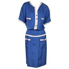 Blue & White Vintage Chanel Boutique Blouson Dress