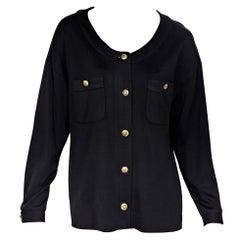 Black Vintage Chanel Long-Sleeve Blouse