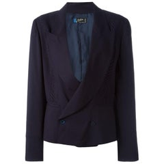 Claude Montana Navy Wool Double Breasted Blazer Jacket