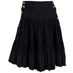 Black Vintage Chanel Cotton Tiered Skirt