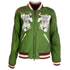 Chloe '16 Green Floral Leopard/Black Reversible Bomber Jacket sz 36