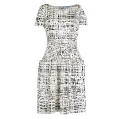 Prada Monochrome Printed Silk Short Sleeve Pocket Detail Belted Dress M