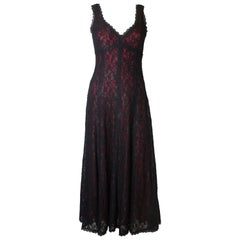 Vintage Caroline Charles Black Lace Gown with Red Lining