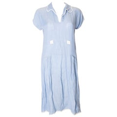 Vintage Sky Blue Linen Dress from the 1920s