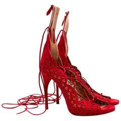 Azzedine Alaia Carine laser-cut suede sandals US 9