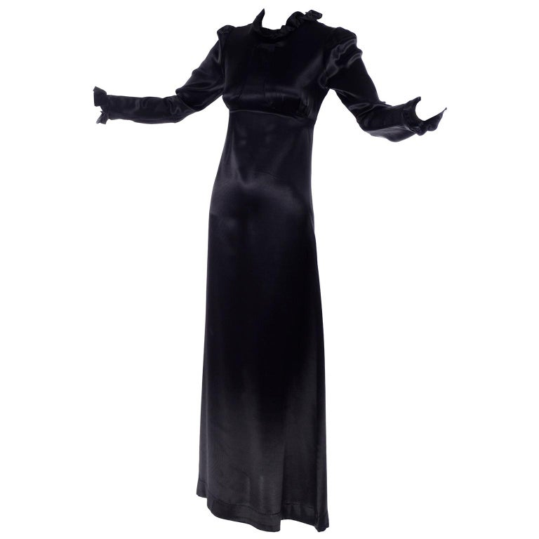 1930s Fitted Black Silk Satin Long Dress in Victorian Style With Ruffles  For Sale