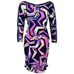Emilio Pucci Geometric Multi Color Print Dress