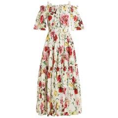 Dolce & Gabbana Floral-Print Off-The-Shoulder Dress