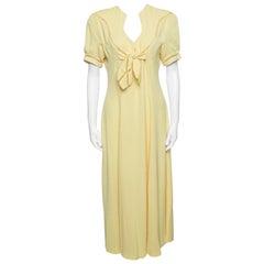 Thierry Mugler Vintage Yellow Cutout Tie Detail Maxi Dress M