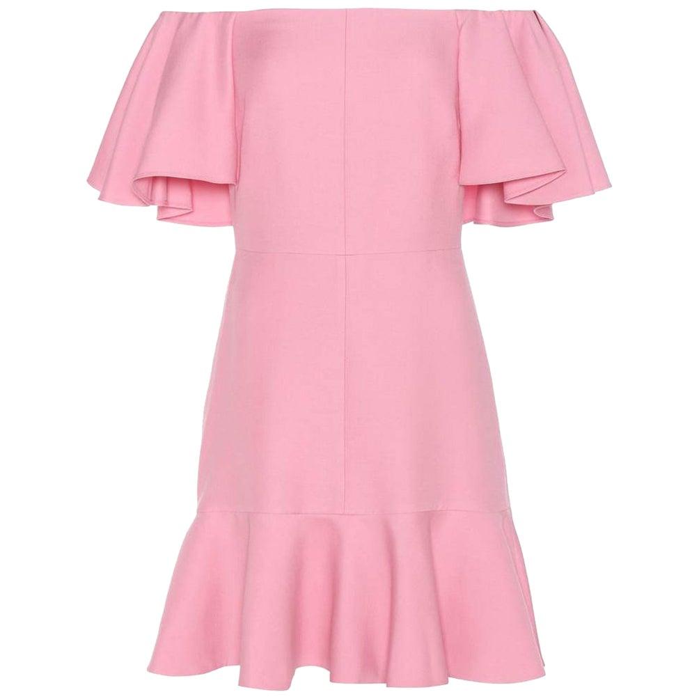 Valentino Off-The-Shoulder Silk-Blend Crepe Mini Dress